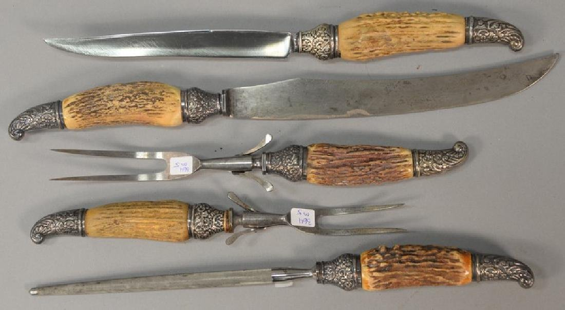 Five piece bone and silver carving set, having sterling