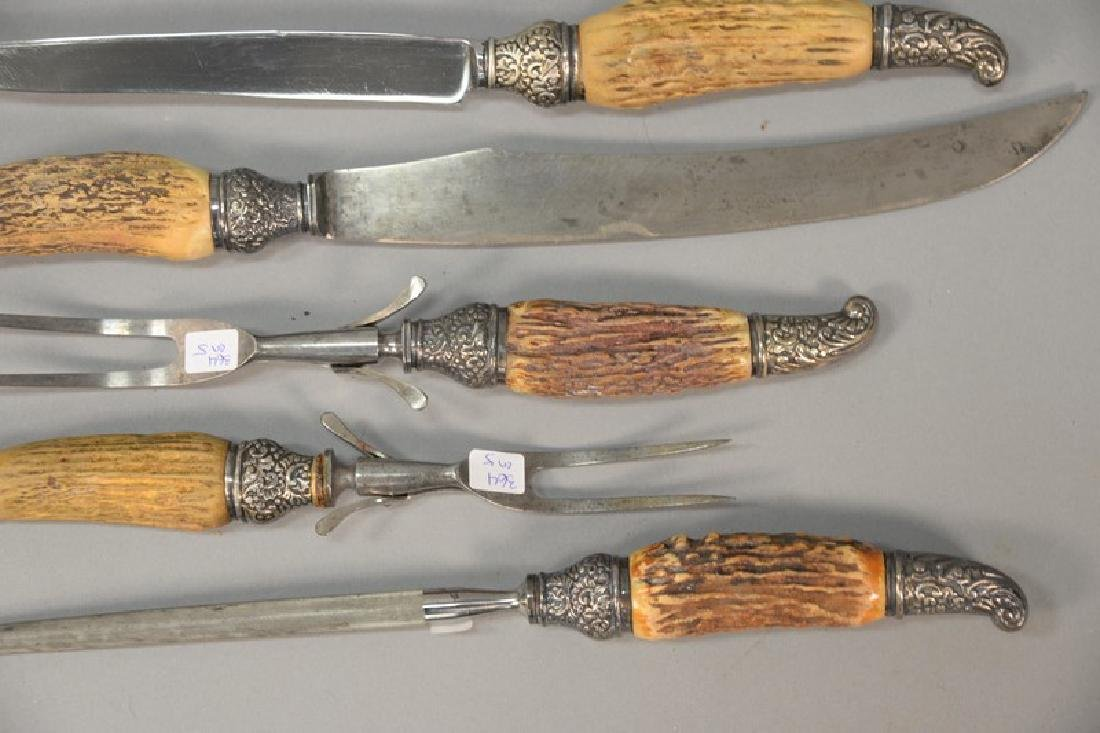 Five piece bone and silver carving set, having sterling - 3
