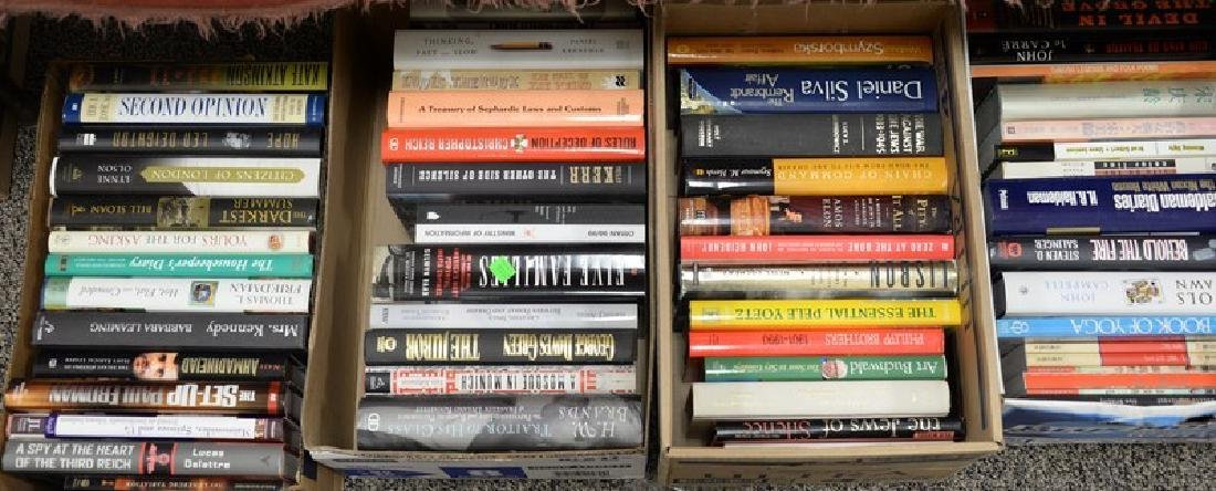 Eighteen boxes of miscellaneous books, mostly hard