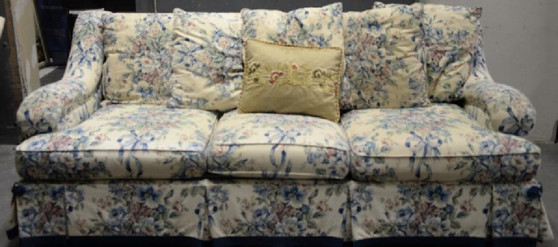 Upholstered floral sofa. lg. 84in.