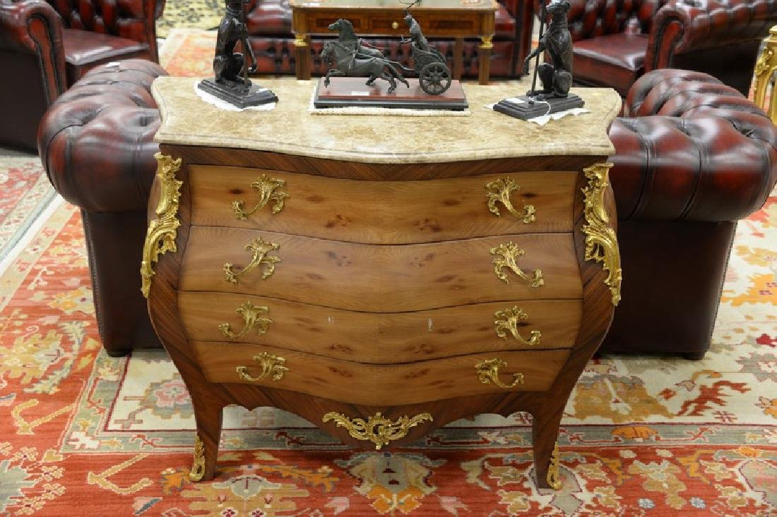French style marble top chest with four drawers - 2
