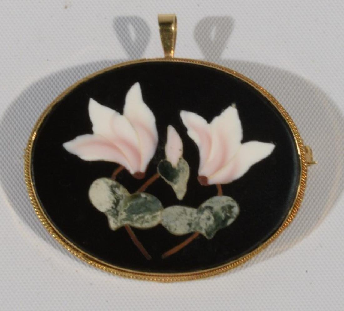 NO CREDIT CARDS FOR JEWELRY  Pietra dura pin in 18