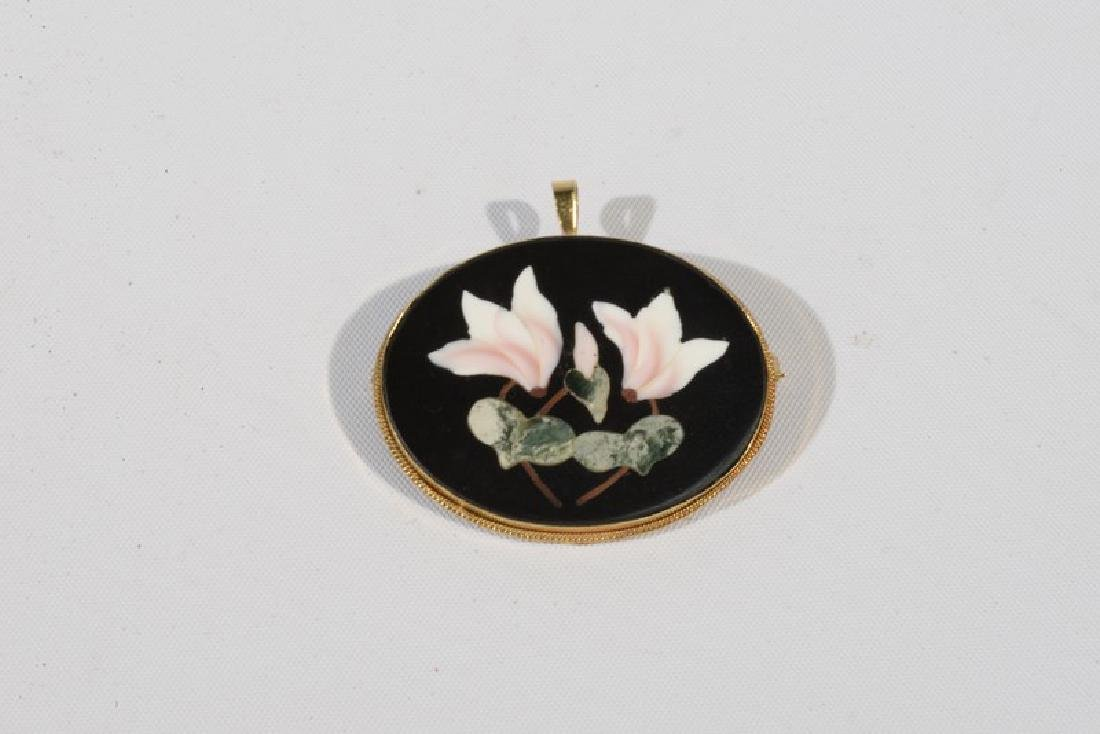 NO CREDIT CARDS FOR JEWELRY  Pietra dura pin in 18 - 2