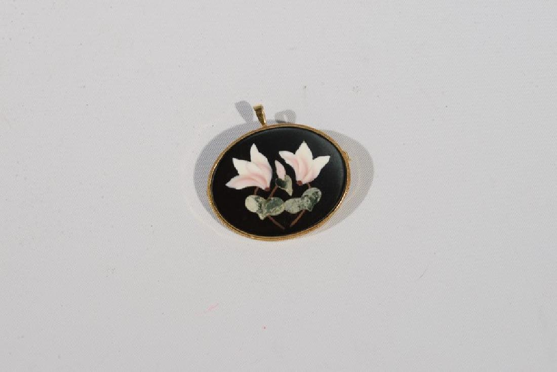 NO CREDIT CARDS FOR JEWELRY  Pietra dura pin in 18 - 5