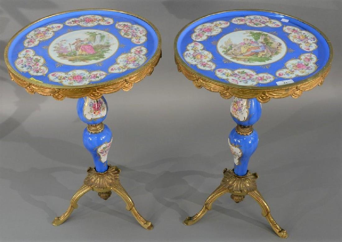 Pair of Sevres type porcelain top stands having round