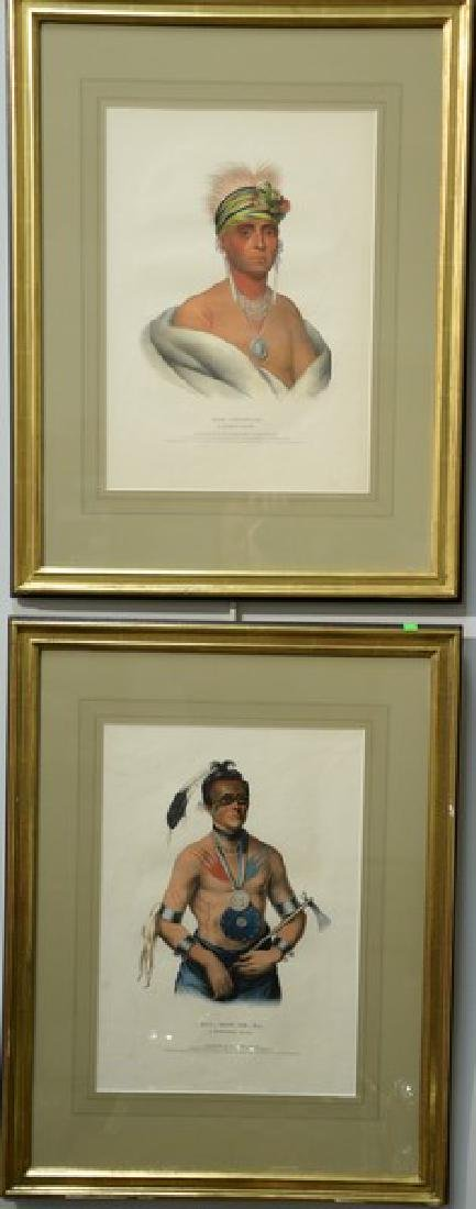 Set of four hand colored lithographs of Indian Chiefs