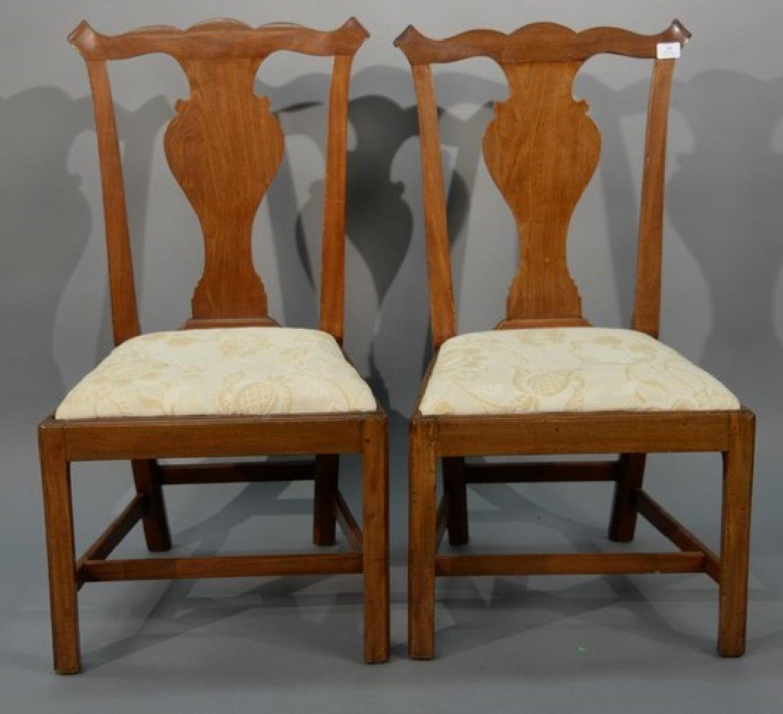 Pair of Chippendale mahogany side chairs having shaped
