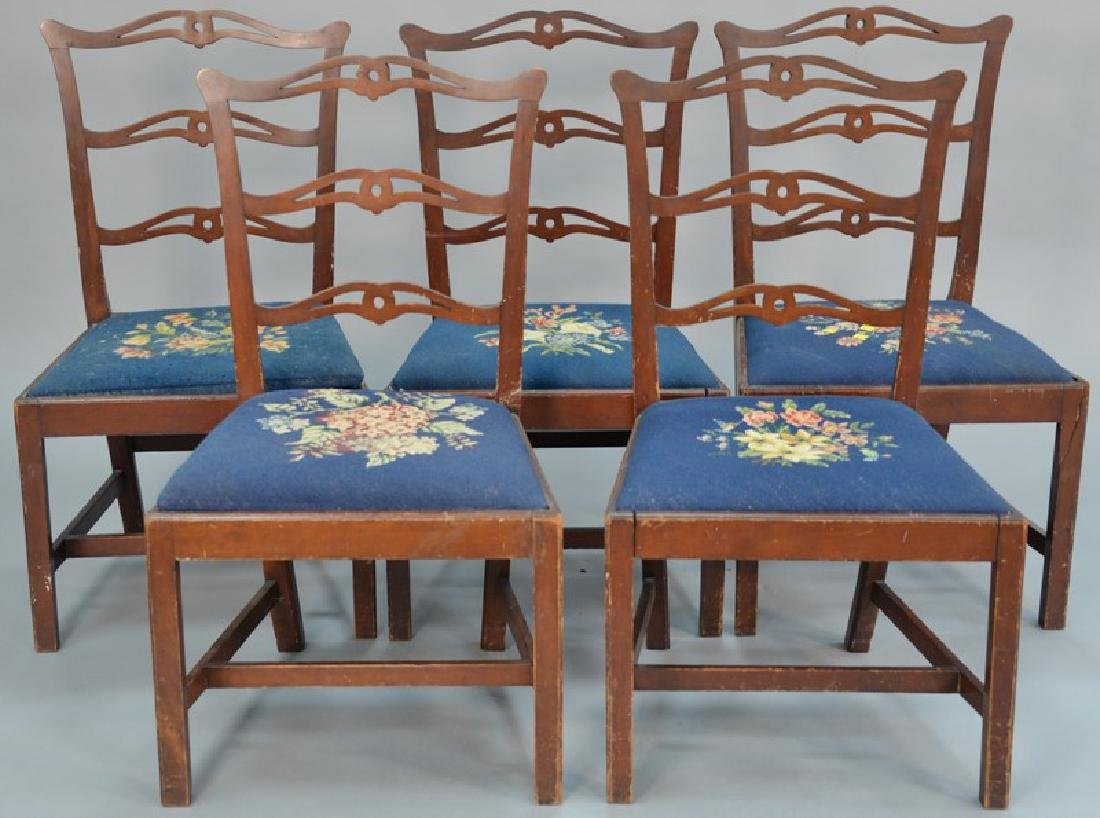 Set of five Chippendale cherry side chairs, each with