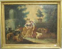 18th/19th century oil on canvas  Shepherdess with Her