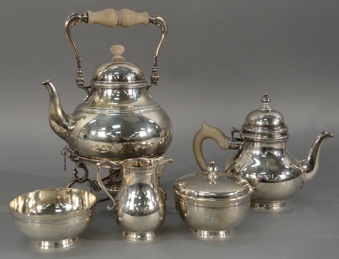 Five piece English silver tea and coffee set with