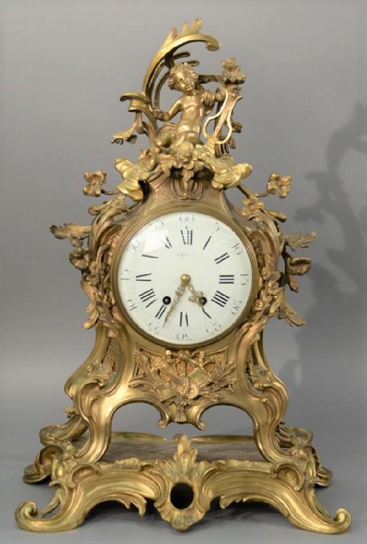 Louis XV style shelf clock marked Tiffany & Co on dial