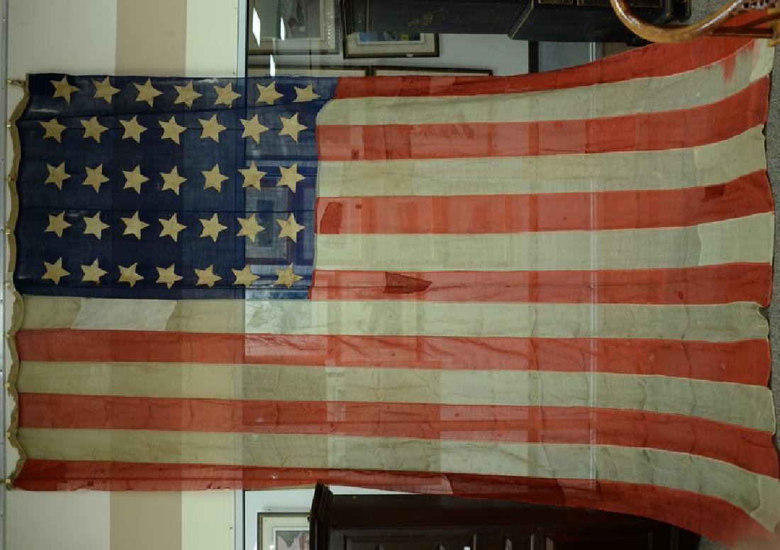 American flag, 35 stars, marked: Hall 69 Montague St.,