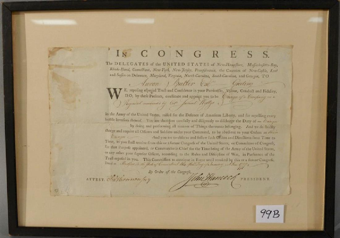 John Hancock (1737-1793) signed appointment of Aaron