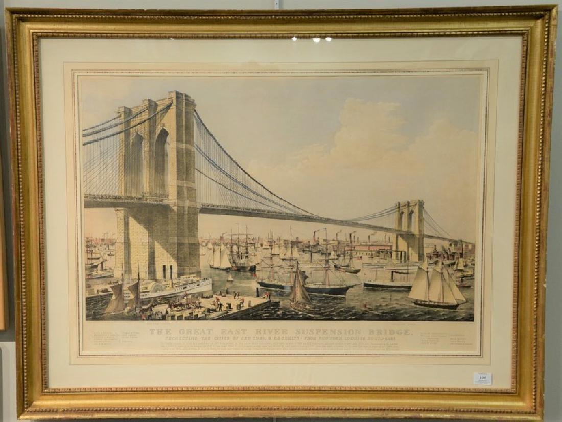 "Currier & Ives  hand colored lithograph ""The Great East"