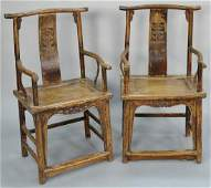 Pair of Chinese hardwood armchairs  height 41 inches