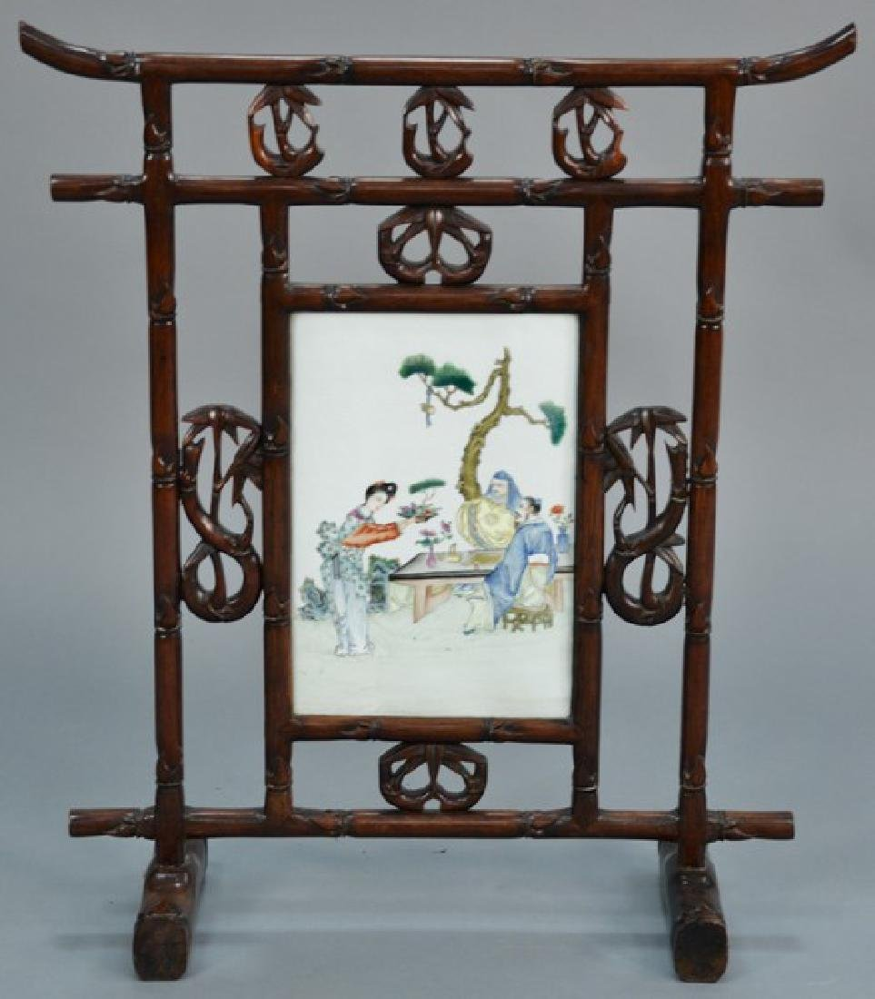 Chinese fire screen, faux bamboo with center porcelain
