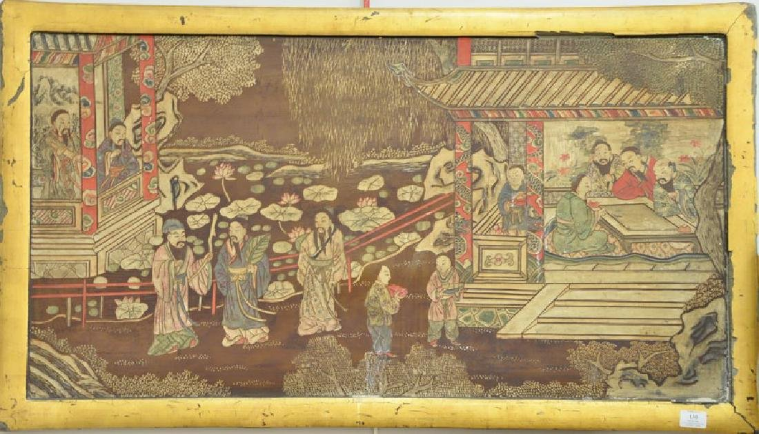 Chinese carved wood and painted framed panel depicting