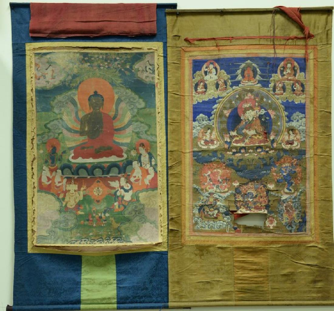 Two Tibetan Thangka including one with blue border
