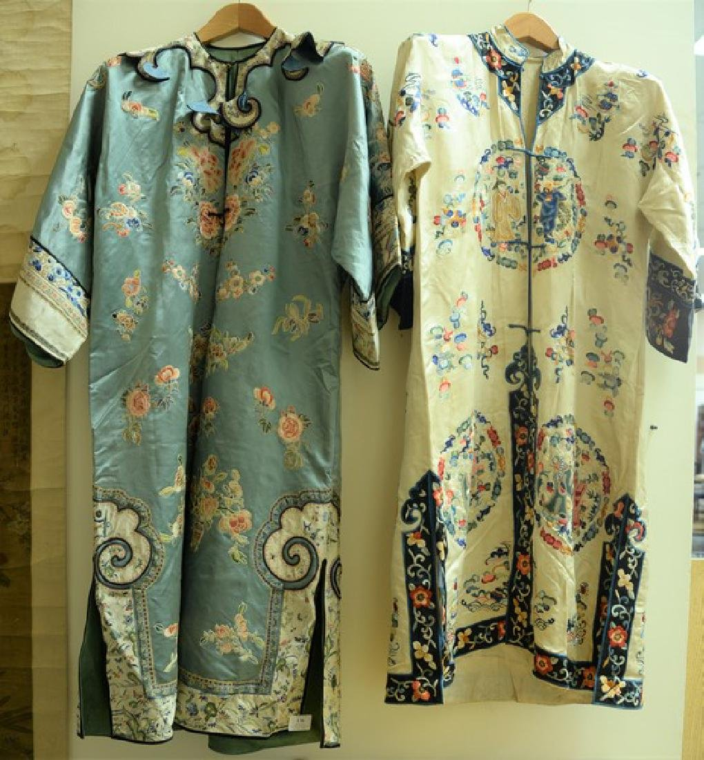 Two silk embroidered robes including one white with