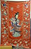 Large Chinese silk embroidered panel having large