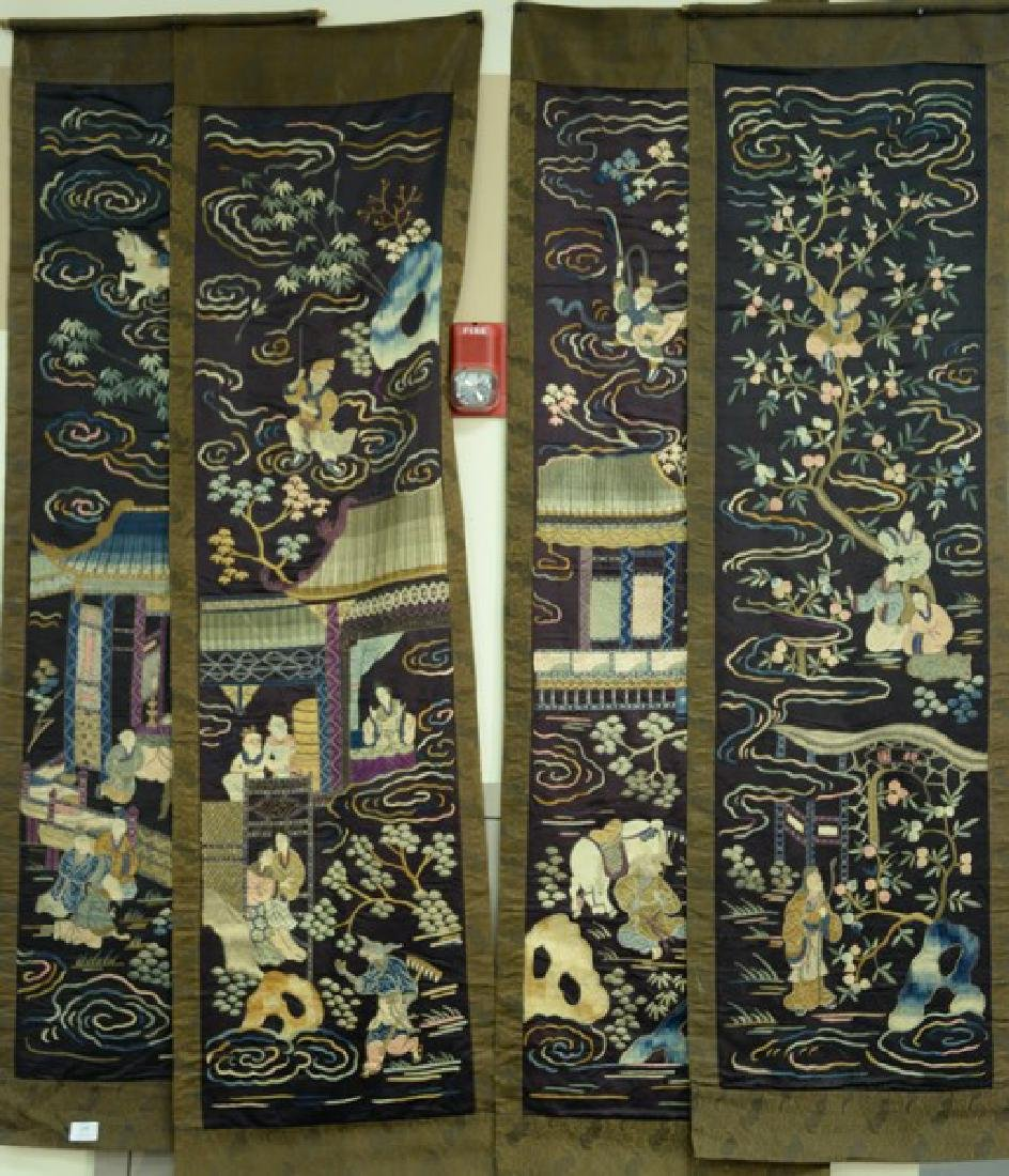Set of four Chinese silk embroidered horizontal panels