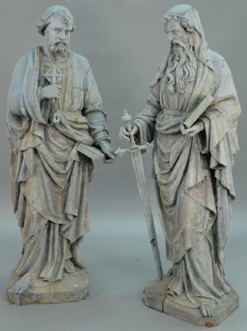Pair of zinc hollow religious garden figures, life