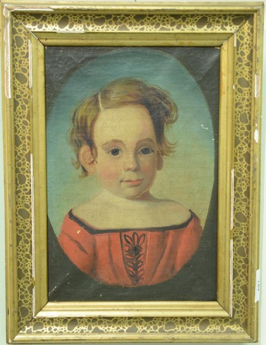 Primitive portrait of a young boy wearing red, 19th
