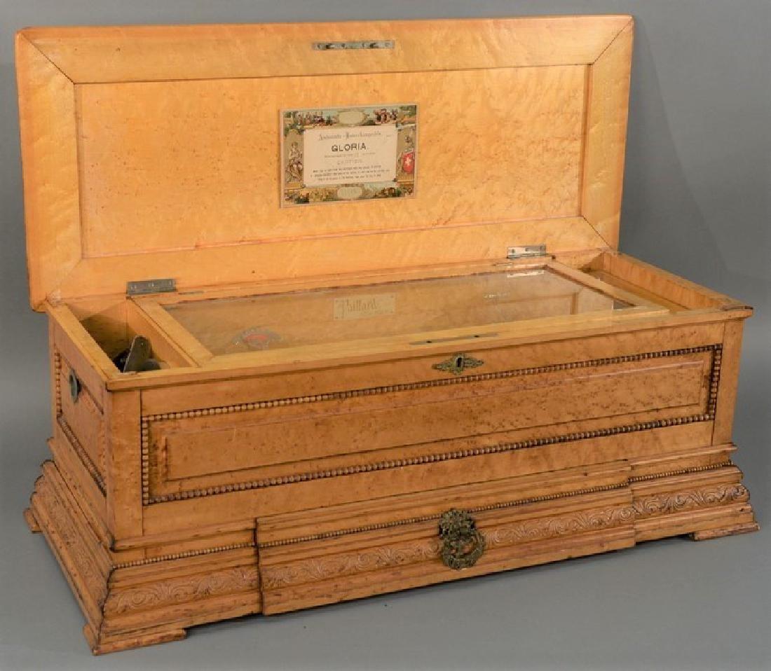 Pallard cylinder music box in birdseye maple case with