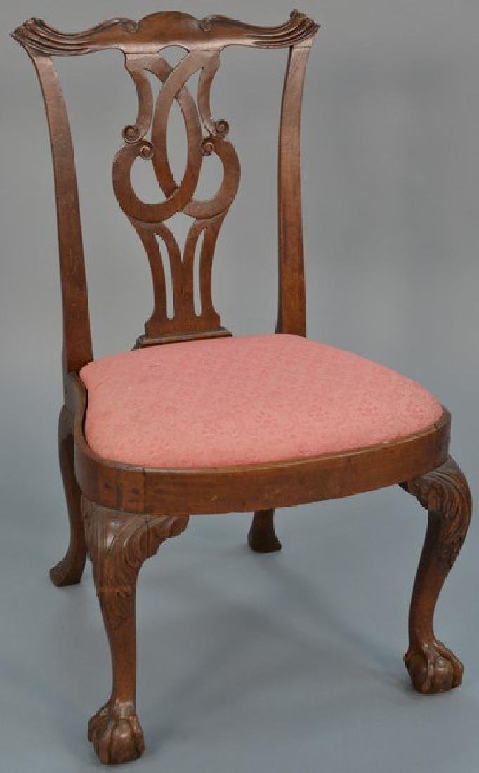 Chippendale mahogany side chair with pierce carved