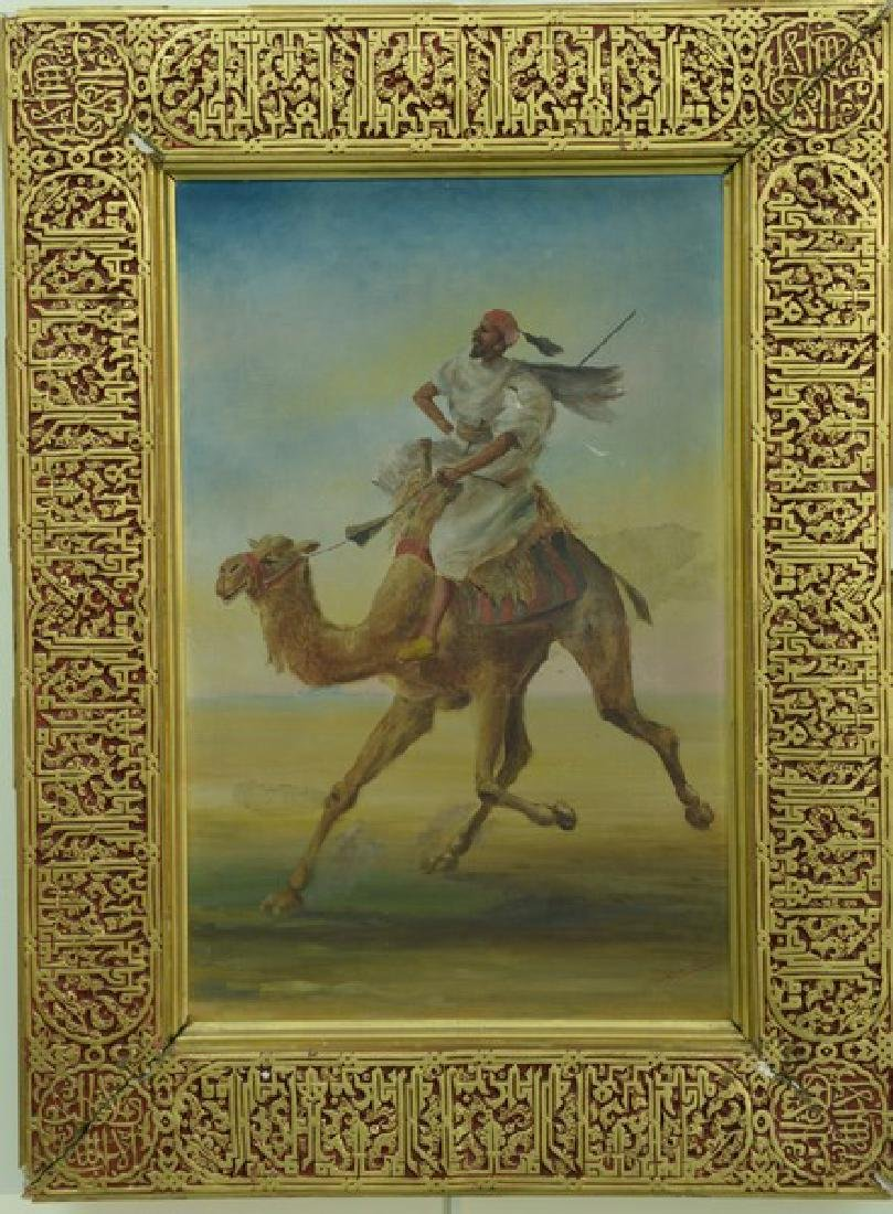 Orientalist oil on canvas  Camel with Arabic Rider