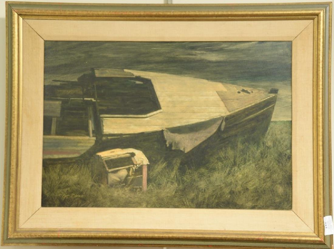 Kenneth Davies (1925)  oil on board  Washed up Boat