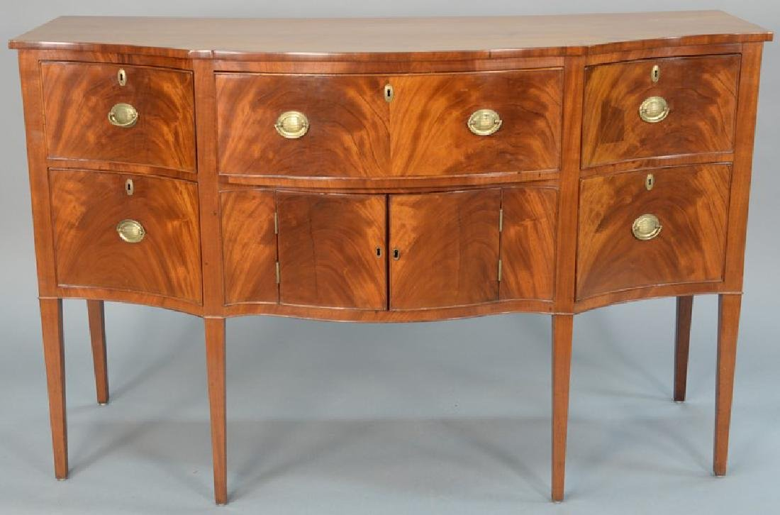 Federal mahogany sideboard with D shaped top over