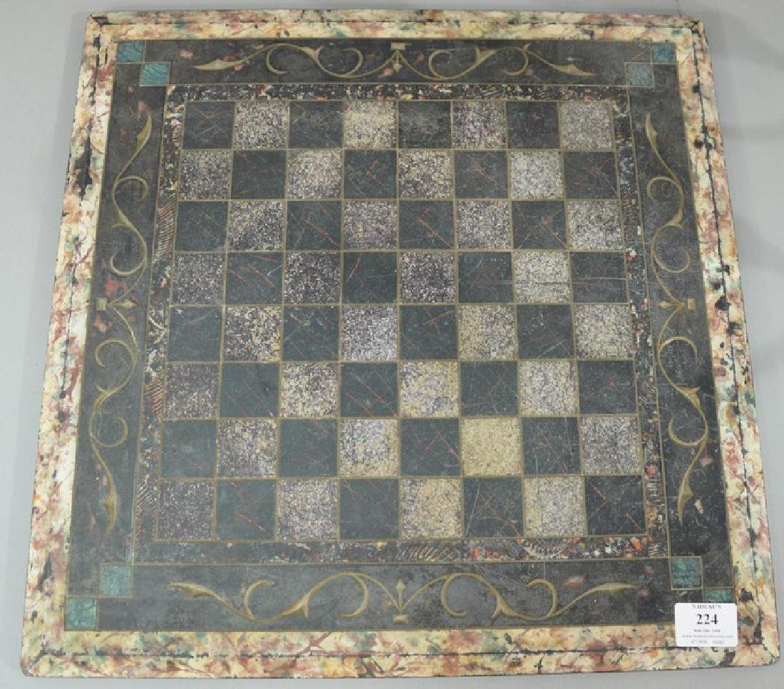 "Slate and marble game board.  18"" x 18"""