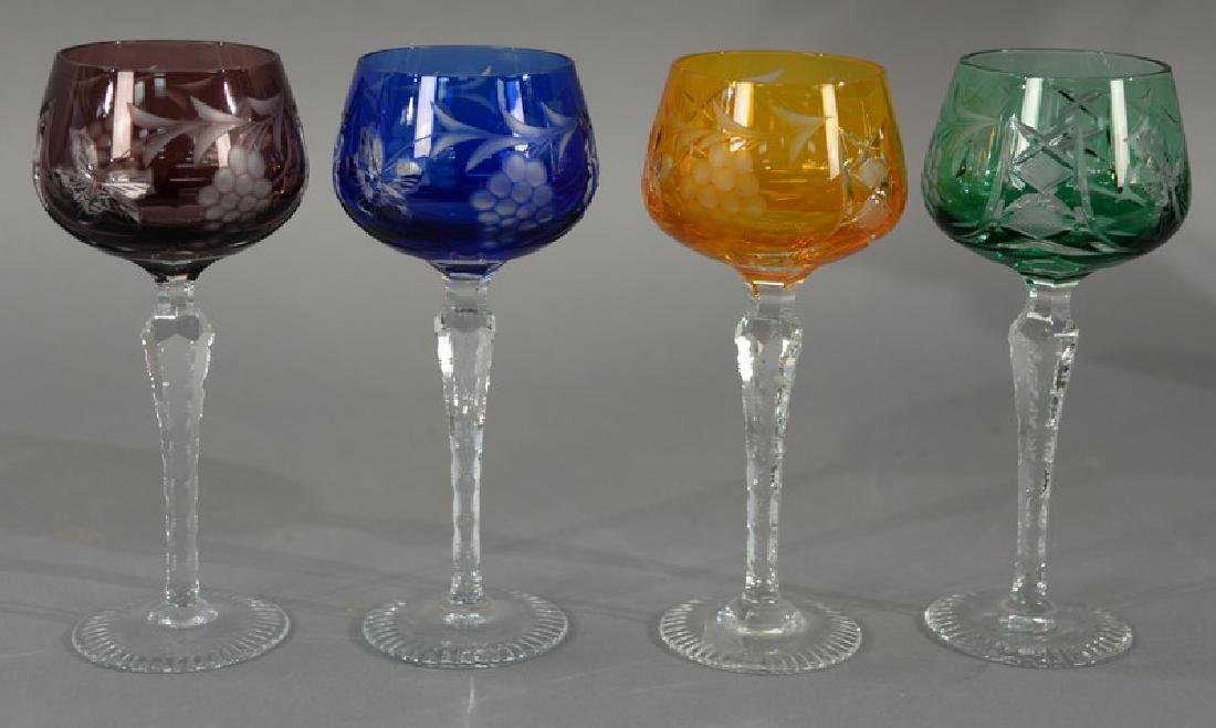 Set of twelve cut to clear stemmed cordials in blue,