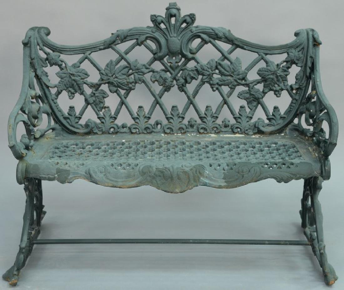 Iron bench with grape and vine pattern