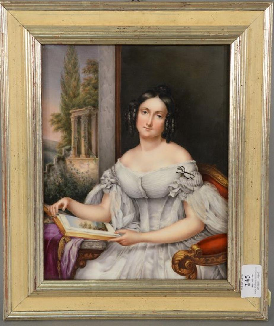 Painting on porcelain plaque of seated woman reading a