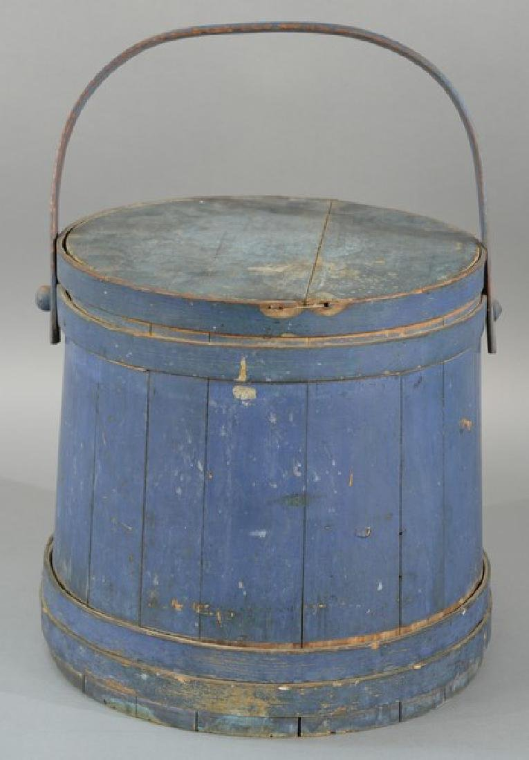 Primitive blue painted firkin with swing bentwood