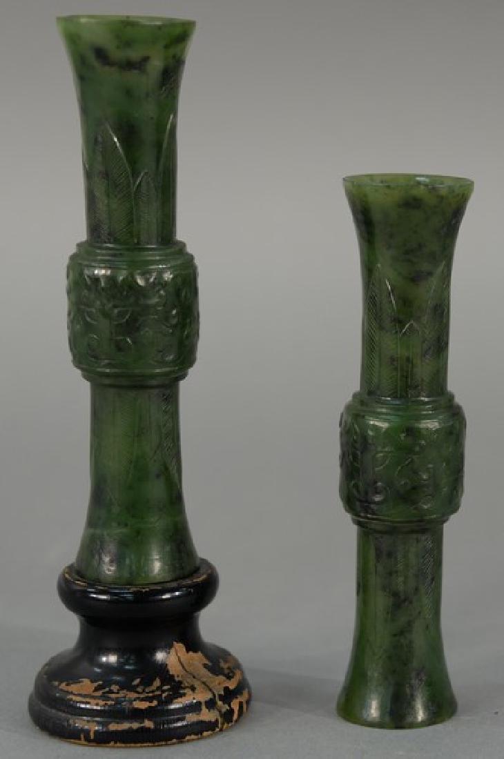 Pair of Chinese spinach jade beaker vases, each having