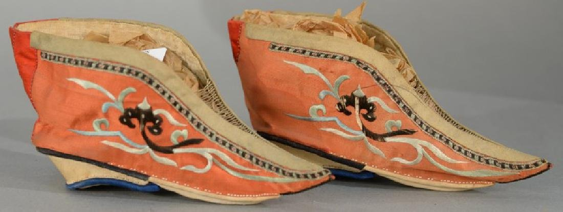 Pair of Chinese embroidered silk lotus shoes, late