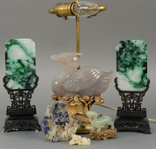 Six piece group of Asian hardstone pieces to include