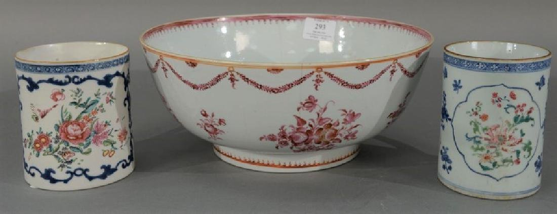Three piece Chinese export lot to include a bowl with