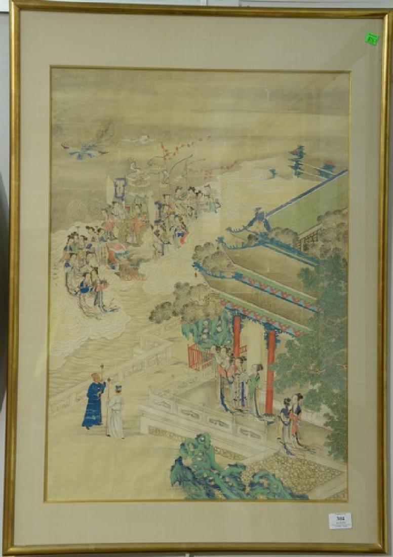 19th Century Chinese painting on silk, courtyard scene