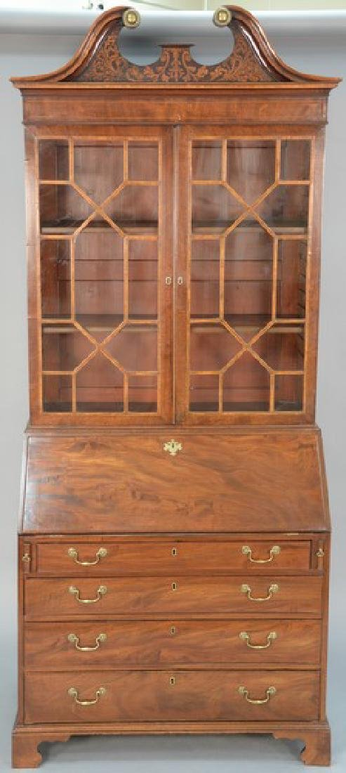 George III mahogany secretary desk in two parts with
