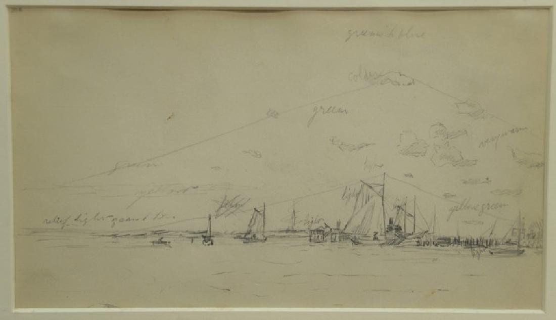 Dennis Miller Bunker (1861-1890)  pencil sketch drawing