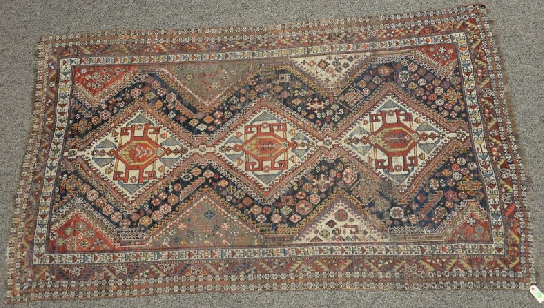 "Oriental throw rug (wear).  4'8"" x 7'6"""