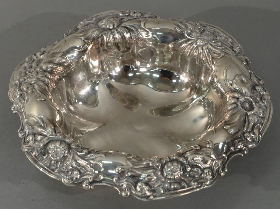 Gorham sterling silver bowl with floral repousse top