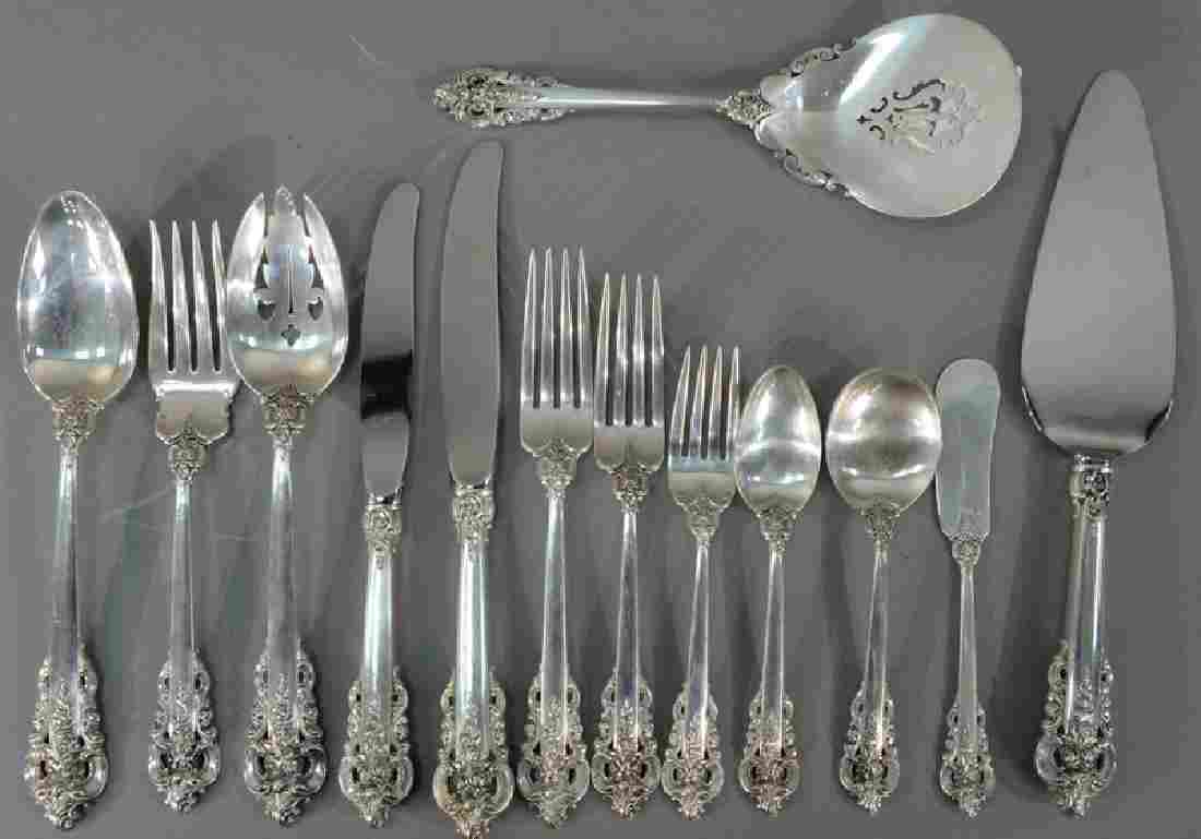 Wallace Grand Baroque sterling silver flatware set, 108