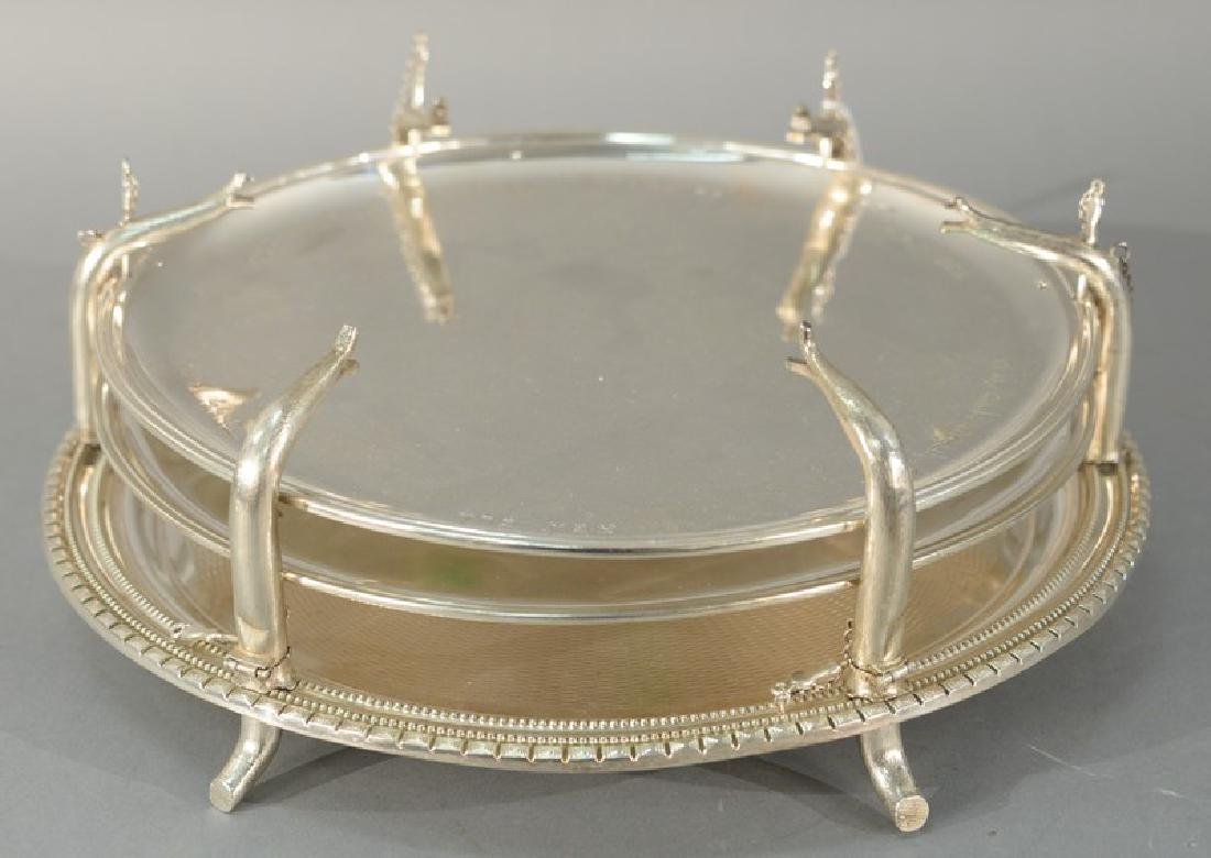 Three part round silver trays with drill holes around