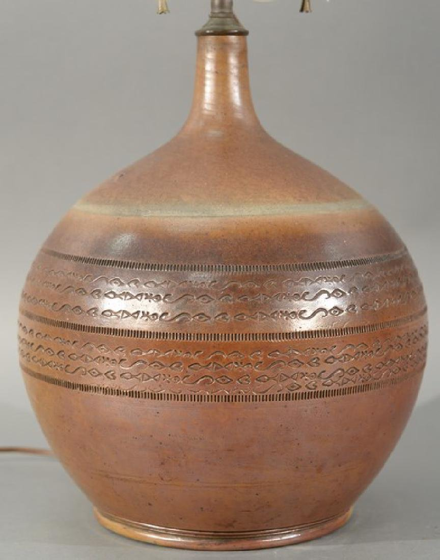 19th century stoneware pottery vase with incised fish