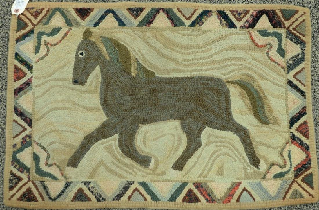 "Hooked rug with horse.  1'10"" x 2'8"""